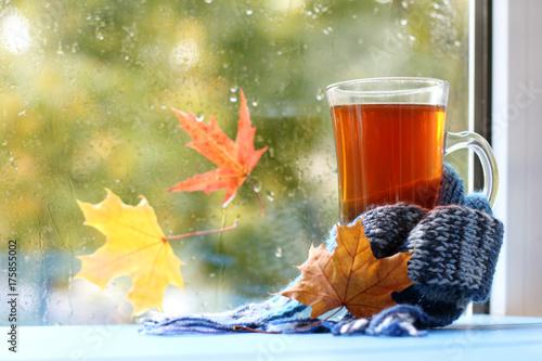 Plakat ocieplenie domu napój jesienny / kubek z herbatą, zawinięty w szalik na tle okna po deszczu