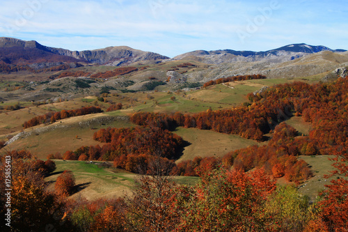Foto op Canvas Rood paars Autumn landscape on Bjelasnica mountain near Sarajevo , Bosnia and Herzegovina