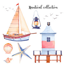 Watercolor Nautical Set. Hand Drawn Cartoon Elements: Sailboat, Lighthouse, Sea Star, Shells, Sea Gull, Lantern. Isolated Design Objects On White Background. Marine Collection