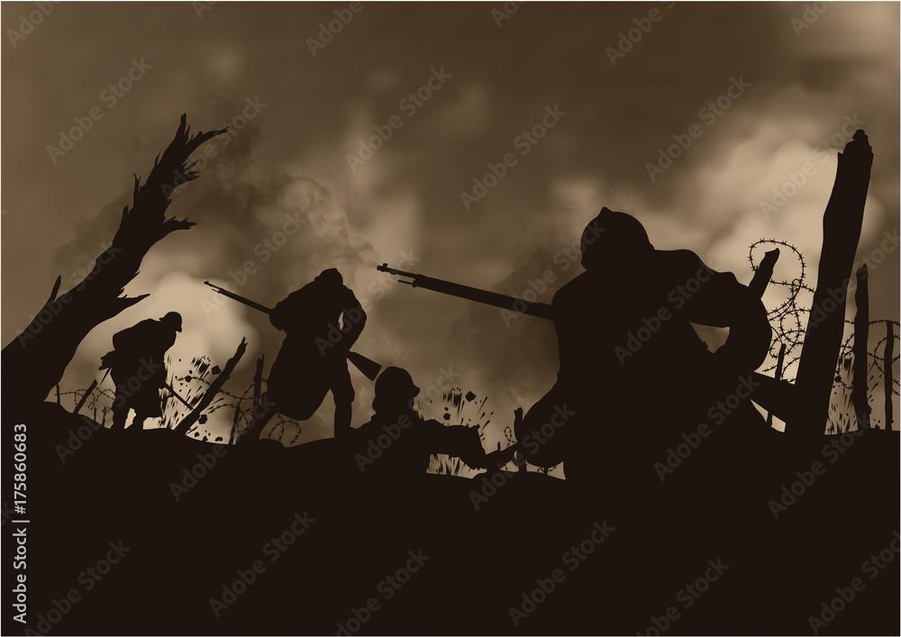 Fototapeta Grande Guerre 14-18 - Tranchée