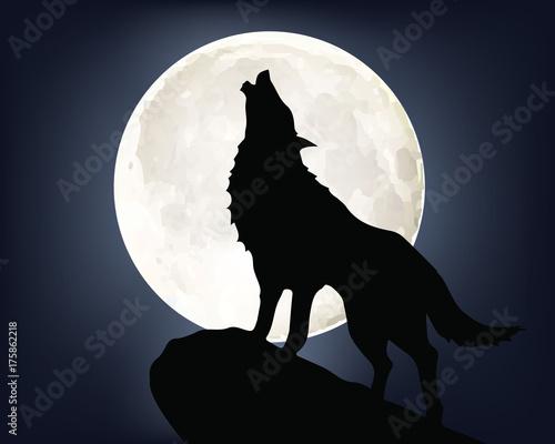 Fototapeta premium Wycie wilka podczas pełni księżyca