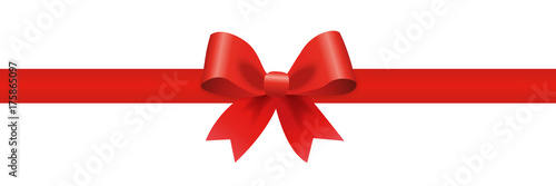 Gift decoration red ribbon - stock vector Fototapete