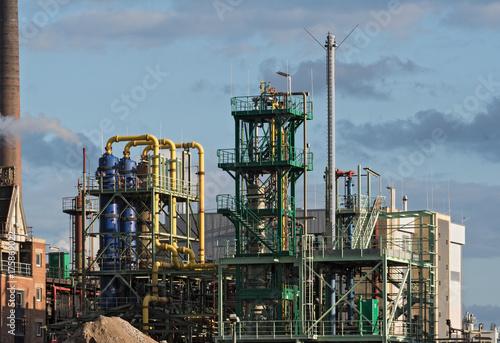 Staande foto Industrial geb. Factory buildings in an industrial park in Frankfurt-Hoechst, Germany