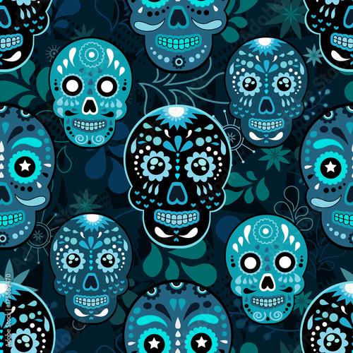 dzien-niezywa-kolorowa-cukrowa-czaszka-z-kwiecistym-ornamentem-i-kwiatu-bezszwowym
