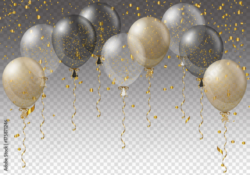 Fotografie, Obraz  Celebration background template with balloons, confetti and ribbons on transparent background