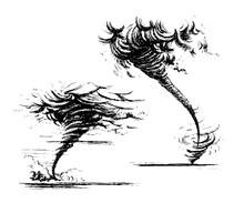 Tornado Sketch Hand-drawn Style.