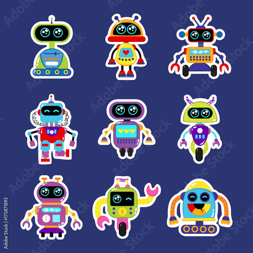 Fashion patch badges with robot, robotics android, toy robot with