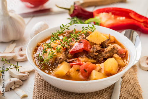 Fotomural Bograch - Hungarian soup goulash with meat and vegetables.