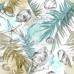 Fototapeta Marynistyczny Summer Party holiday background, watercolor illustration. Seamless pattern with sea shells, molluscs and palm leaves. Tropical texture in romantic colors.