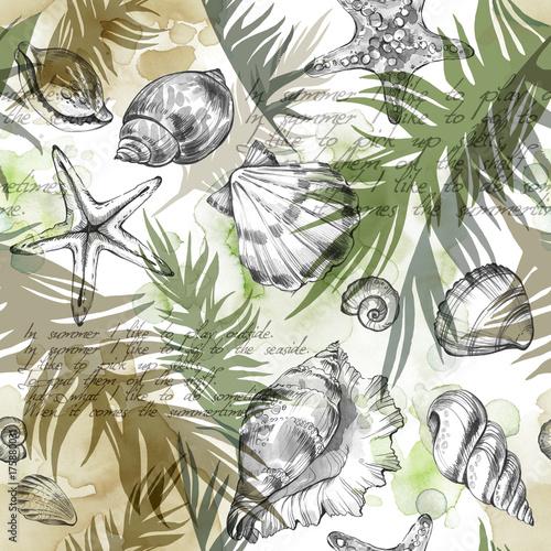 tlo-wakacje-lato-party-akwarela-ilustracja-wzor-z-muszli-mieczakow-i-lisci-palmowych-tropikalna-tekstura-w-romantycznych-kolorach