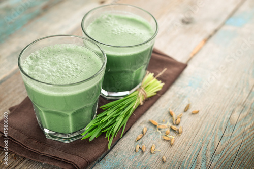 Two green barley grass shots