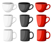 High Detailed Vector Illustration Of Colorful Cups Isolated On White Background Web Site Page And Mobile App Design.