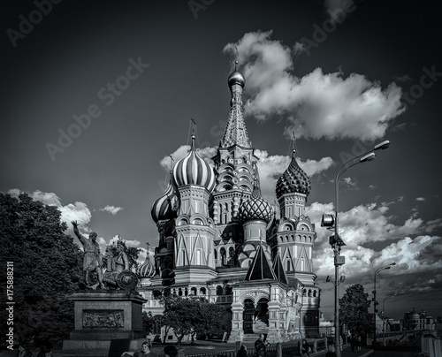 Saint Basils Cathedral in monochrome, Moscow, Russia