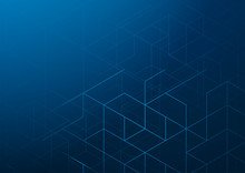 Abstract Dark Blue Background, Line Triangle Hexagon Structure Pattern