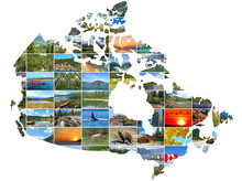 Canada Map Create Of Canadian Landscapes Photo On A White Background. National Parks And Landscapes. Travel And Tourism Concept