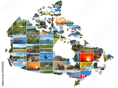 Spoed Foto op Canvas Canada Canada Map create of Canadian Landscapes photo on a white background. National Parks and Landscapes. Travel and Tourism Concept