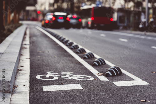 Bicycle road sign on the street Wallpaper Mural