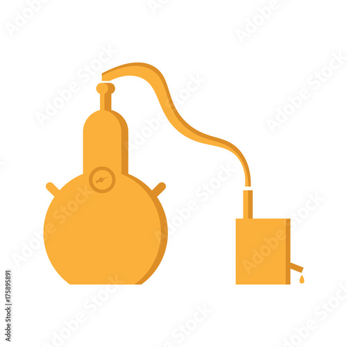 Alembic in flat design. The chemical process is a sample. Wallpaper Mural
