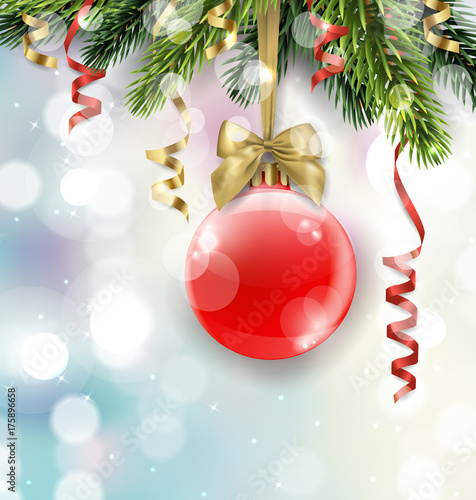 vector christmas tree branch with red ball on blurred background with sparkles christmas and new