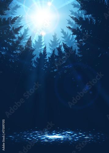 Papiers peints Eau Forest background with sunbeams in blue colors, vector illustration