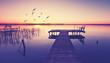 canvas print picture - romantischer Bootstseg am See im Herbst