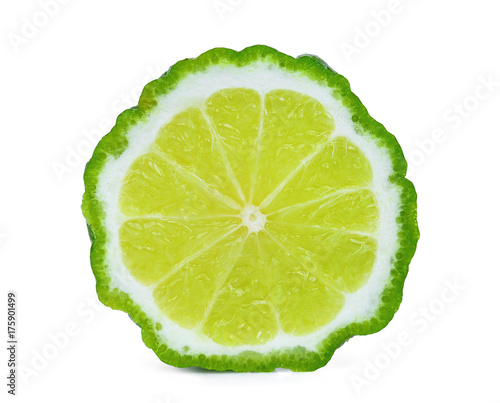 half  of bergamot isolated on white background