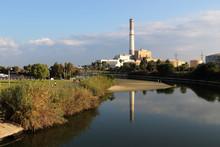 View Of The Yarkon River, Reading Power Station, From Bridge In Tel-Aviv, Israel.