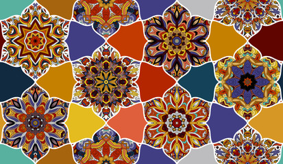 Panel Szklany Podświetlane Vintage Mosaic seamless pattern. Abstract vector background. Wallpaper, fabric, textile, wrapping paper.