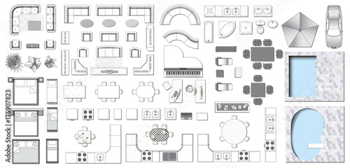 Fotografía  Set top view for interior icon design