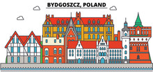 Poland, Bydgoszcz. City Skyline, Architecture, Buildings, Streets, Silhouette, Landscape, Panorama, Landmarks. Editable Strokes. Flat Design Line Vector Illustration Concept. Isolated Icons