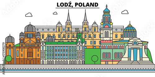 Poland, Lodz. City skyline, architecture, buildings, streets, silhouette, landscape, panorama, landmarks. Editable strokes. Flat design line vector illustration concept. Isolated icons