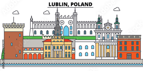 Obraz Poland, Lublin. City skyline, architecture, buildings, streets, silhouette, landscape, panorama, landmarks. Editable strokes. Flat design line vector illustration concept. Isolated icons - fototapety do salonu