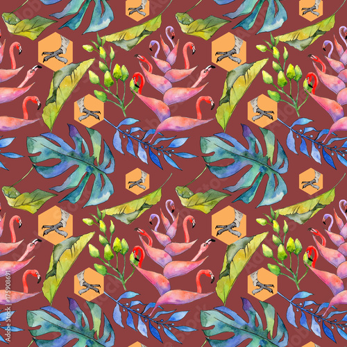 Poster Tropical Hawaii leaves pattern in a watercolor style. Aquarelle wild flower for background, texture, wrapper pattern, frame or border.