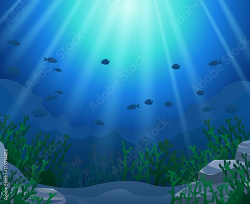 Poster Turquoise corals with underwater view background. Vector illustration