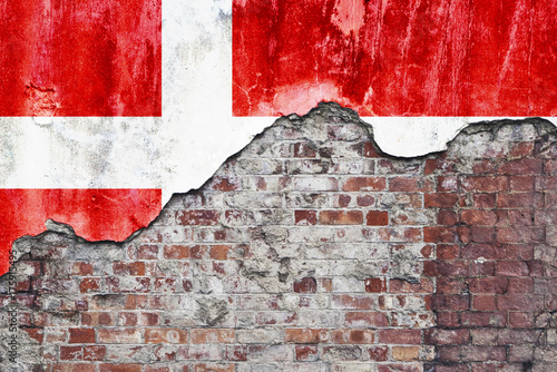 Wallpaper Mural Danish Flag On Grungy Wall