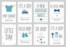 Baby Shower Invitations. Baby Boy Arrival And Shower Cards Collection. Vector Invitations With Baby Dress, Car, Star, Bow Tie, Socks, Pin, Bottle.
