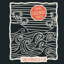 Retro California Summer Beach Surf Vector T Shirt Vector Design With Palm Trees And Ocean Waves