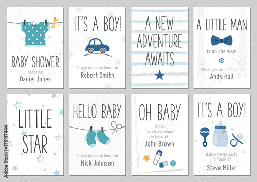 Baby shower invitations baby boy arrival and shower cards baby shower invitations baby boy arrival and shower cards collection vector invitations with baby filmwisefo Image collections