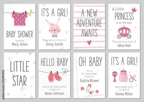 Fototapeta Baby shower invitations. Baby girl arrival and shower cards collection. Vector invitations with baby dress, bunny, heart, carriage, socks, pin, bottle. obraz