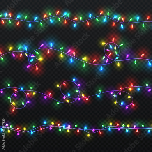 Christmas light garlands. Xmas vector decoration with colorful lightbulbs isolated Wall mural