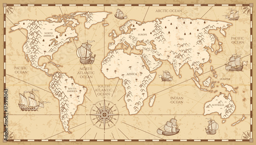 Fotobehang Schip Vintage physical world map with rivers and mountains vector illustration
