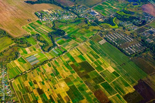 Wall Murals Air photo Farmland aerial view at fall