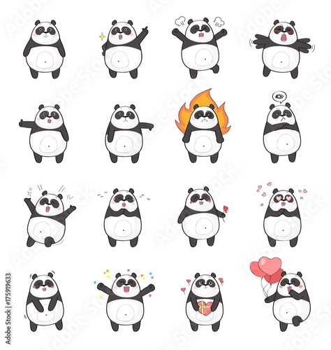 Autocollant pour porte Panda Set of cute panda character with different emotions, isolated on white background