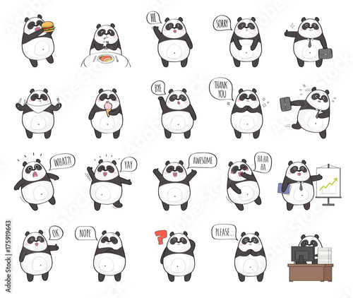 Stickers pour portes Panda Set of cute panda character with different emotions, isolated on white background