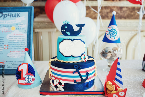 Amazing Blue Birthday Cake Decorated With A Wale And Anchor In Marine Funny Birthday Cards Online Alyptdamsfinfo
