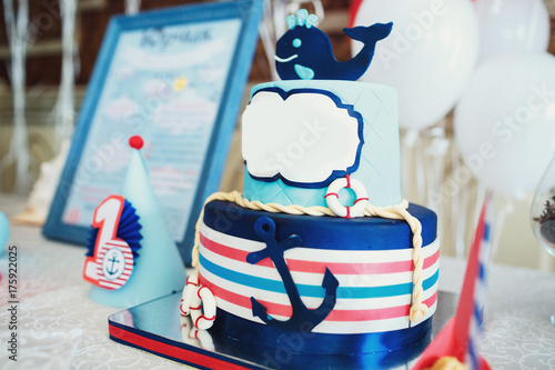 Marvelous Blue Birthday Cake Decorated With A Wale And Anchor In Marine Funny Birthday Cards Online Alyptdamsfinfo