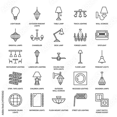 Light fixture, lamps flat line icons. Home and outdoor lighting equipment - chandelier, wall sconce, desk lamp, light bulb, power socket. Vector illustration, signs for electric, interior store. Wall mural