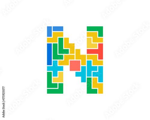 Photo sur Toile Pixel Letter N Puzzle Icon Logo Design Element