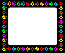 Colorful Animal Paw Prints Black Frame With Blank White Background For Your Text And Images.