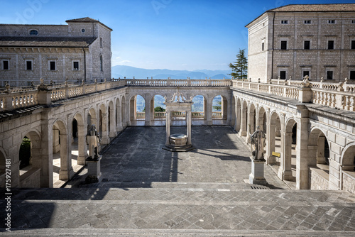 Montecassino, ITALY - FEBRUARY 14, 2017: Interior of the Abbey at Montecassino, The abbey was destroyed by bombing in second World War and rebuilt Obraz na płótnie